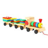 Train Truck Wooden Geometric Blocks Toys Kids Developmental Baby Educational Track Toys