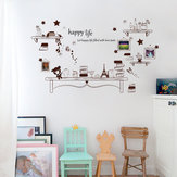 Cartoon Desk Photo Frame Kids Bedroom Wall Sticker Bear And Stars DIY Quote Happy Life Art Decal