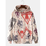 Mens Rocket Ship Print Kangaroo Pocket Long Sleeve Design Drawstring Hoodies