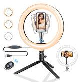 BlitzWolf® BW-SL3 dimmerabile da 10 pollici LED Supporto per treppiede con luce ad anello Presa USB per TikTok Youtube Live Stream Trucco con clip per telefono