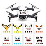 RCGEEK Eğlenceli Ifade Gülümseme Köpekbalığı Etiketler Çıkartmaları Cilt 8 Adet DJI Mavic 2 AIR Spark Phantom RC Drone