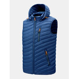 Mens Zip Front Quilted Casual Padded Detachable Hooded Vests With Pocket
