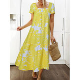Floral Print Square Collar Patchwork Short Sleeve Holiday Casual Maxi Dress
