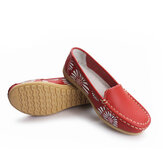 Slip-On Soft Casual Floral Leather Leather Loafers Chaussures Chaussures Plates Chaussures