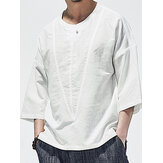 Mens 100% Cotton Solid Henley Collar Mid Sleeve Shirts
