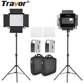 Travor L4500K Bi-color 2 Set LED Kit de luz de video Profesional Cámara Luz de relleno regulable con luz Video con trípode y Bolsa