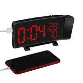 ProyecciónRelojThree-ColorFMRadioAlarma Reloj LED Mesa de escritorio de humedad de temperatura Relojs decoración para el hogar