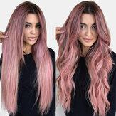 Lyserød gradient Lang krøllet hår Høj temperatur Fiber Fluffy Åndbar pandehår parykker