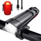 BIKIGHT 320LM światło rowerowe reflektor + 120LM tylne światło 3 tryby regulowana przednia lampa na kierownicę USB ładowanie wodoodporna latarka