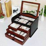 Деревянное хранилище ювелирных изделий Коробка Многофункциональные часы из массива дерева Коробка