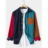 Mens Corduroy Solid Color Patchwork Lapel Pocket Long Sleeve Shirts