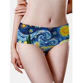 Mulheres sem costura Óleo Pintura estrelado Sky Imprimir meados de cintura calcinha respirável