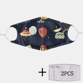 2 stuks PM2.5 Filter Planet Niet-wegwerpmaskers met ademmasker