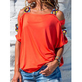 Women Solid Color Off Shoulder Short Sleeve Blouse