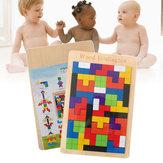赤ちゃん木製テトリスパズルブロックおもちゃ子供子供幼児教育幼児教育ジグソーパズル玩具デスクトップカジュアル子供のおもちゃ