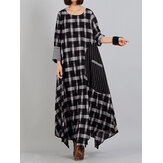 Plaid Stitching O-neck Long Sleeve Casual Maxi Dress With Pocket