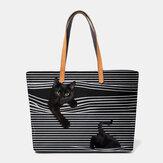 نساء قماش كبير سعة شريط ثلاثي الأبعاد كارتون لطيف القط حقيبة كتف حقيبة حمل