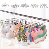 10-35Clips Foldable Cloth Hanger Outdoor Travel Home Underwear Sock Laundry Rack Stainless Steel