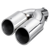 Universal 63mm Car Inlet Dual Exhaust Pipe Trim Tip Tail Muffler Stainless Steel
