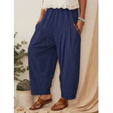Plus Size Women Vintage Patchwork Elastic Waist Wide Leg Pants