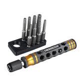 8Pcs RJX RJX3045BK 1/4 pouce 6,35 mm Longueur Tournevis électrique à tête Torx 50 mm T8/T10 / T15 / T20 / T25 / T27 / T30/T40 embouts avec poignée