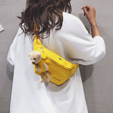 Women Bear Doll Solid Earphone Cute Crossbody Bag Chest bag Sling Bag