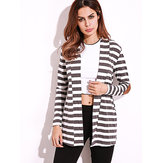 Casual Women Shawl Collar Elbow Patch Striped Open Front Cardigan Long Sleeve