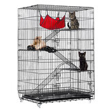 4-Tier Cat Cage, Cat Playpen Kennel Crate Chinchilla Rat Box Cage Enclosure with Ladders, Platforms Beds, Latches Tray Hammock