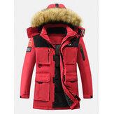 Piumino caldo con cappuccio in pelliccia con cerniera multitasche invernale da uomo