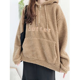 Fleece Solid Color Alphabet Langarm Hoodies Sweatshirts