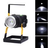 30W2400LMT6LEDZoomFlood Light Pilha recarregável de projeto de mineiro Lanterna de emergência de camping