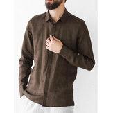 Рубашки 100% хлопка отворотом рукава сплошного цвета людей основные длинные с карманом