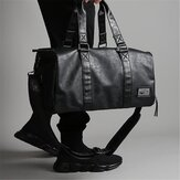Men Black Leather Large Capacity Duffle Travel Bag