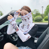 Women Two-pieces Sunscreen Outdoor UV Protection Ice Silk Sleeve Arm Guard Sleeve Cover Face Breathable Veil Mask