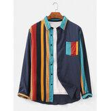 Camisas de manga larga con cuello redondo y patchwork a cuadros de algodón 100% para hombre