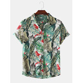 Hommes Color Block Leaves Print Turn Down Collar Hawaii Fashion Chemises à manches courtes