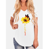 Casual Loose Butterfly Sunflower Print Decote em V Irregular Hem T-shirts