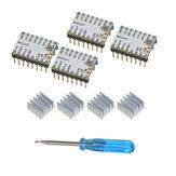 Geeetech® 4PCS TMC2208 paso a paso ultra silencioso motor Controlador + Disipador de calor + Destornillador Kit para impresora 3D