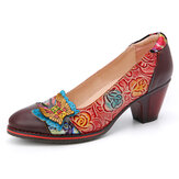 SOCOFY Vintage Butterfly Embossed Floral Leather Splicing Stitching Slip-on Escarpins à talons épais