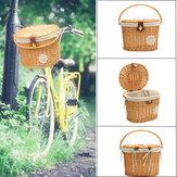 Cesta delantera de bicicleta de 13,7x11x9,4 pulgadas, cesta de mimbre artesanal de sauce Caja Cesta de bicicleta de lino lavable al aire libre Ciclismo