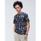 メンズパイナップルフローラルデジタル印刷Youthカジュアルルーズ半袖Tシャツ