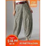 Mulheres cintura alta botão cor sólida harem Calças com bolso