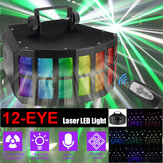 12-EYE RGB DMX Laser Scan Projector LED Stage Light Remote   Strobe Disco DJ Lamp 110-220V
