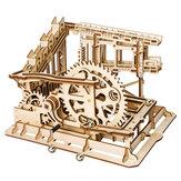 Conjunto de montagem de corrida de mármore enigma de madeira 3d cog magia esmagar faixas diy presente do edifício modelo