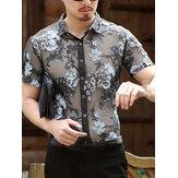 Camicie da uomo a manica corta ricamate floreali traforate