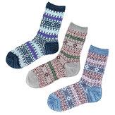 Vrouwen Ademende Katoen Etnische Jacquard sokken met middelhoge pijpen