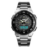 SKMEI 1370 de acero inoxidable Impermeable Chrono Dual Digital Watch Business Style Hombres Reloj de pulsera
