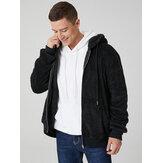 Veste à capuche en peluche noire à manches longues et à manches longues pour homme