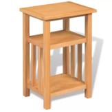 KCASA Tabela final de madeira de carvalho maciço com prateleira para revista para sala de estar Quarto marrom 10.6