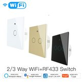 Moeshouse 220V WiFi Smart Light Switch RF433 No Neutral Wire Single Fire Smart Life Tuya App Control Works with Alexa Google Home